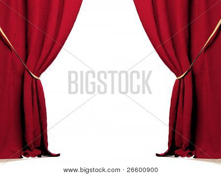 Red curtain at white background