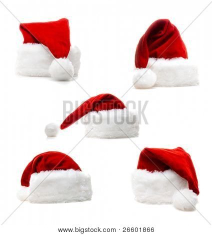 High quality santa claus five hats isolated over white.