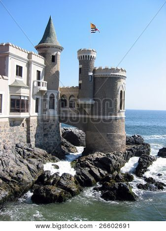 Fairy castle at the shore of Pacific ocean. Vina del Mar, Chile