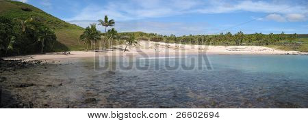 Panoramic view of Anakena Beach, Easter Island