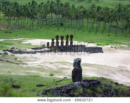 Ahu Nau Nau. Moai of Easter Island