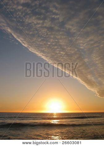 Nuclear sunset over Pacific ocean