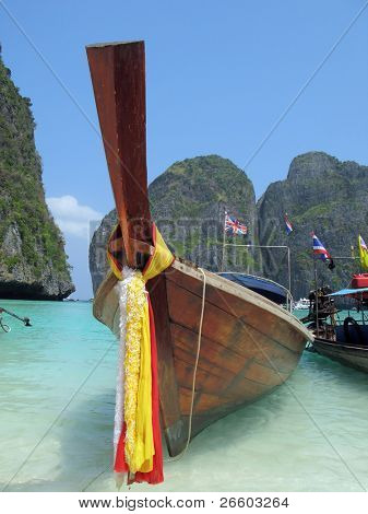 Decorated long tail boat in Maya bay of Phi-Phi island