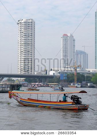 Motorboat on Chao Praya river in Bangkok
