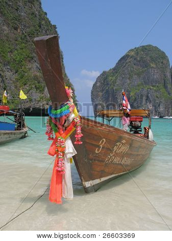 Thai long-tail boat at Maya beach of Phi-Phi island