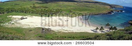 Panoramic view of Anakena beach, Easter Island
