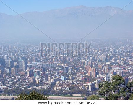 Aerial view to Santiago, Chile