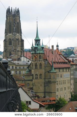 St. Nicholas cathedral in Fribourg, Switzerland