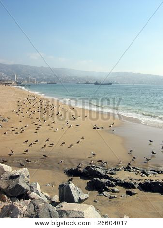 Sandy beach of Valparaiso, Chile
