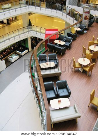 Interior of a trendy cafe in a shopping mall