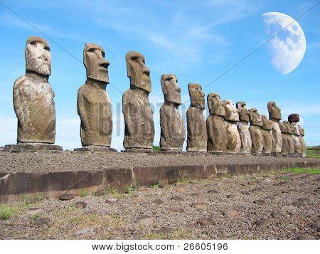Ahu Tongariki. Moais of Easter Island