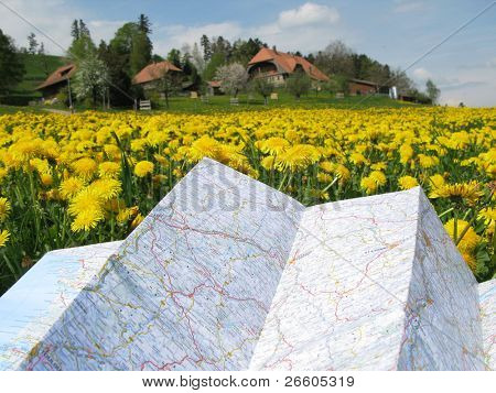 Map against scenic meadow