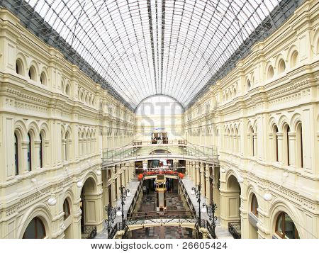 Interior of a shopping mall in Moscow
