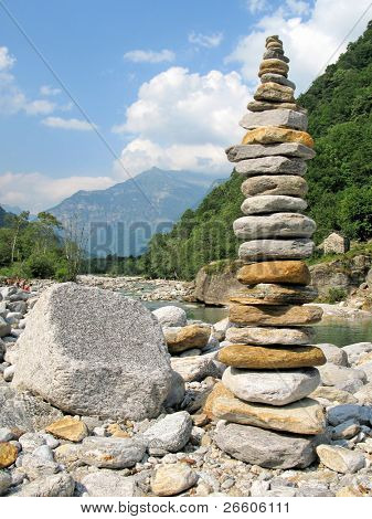 Stone tower in Verzasca valley. Switzerland