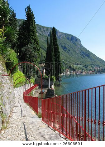 View to the lake Como from villa Monastero, Italy