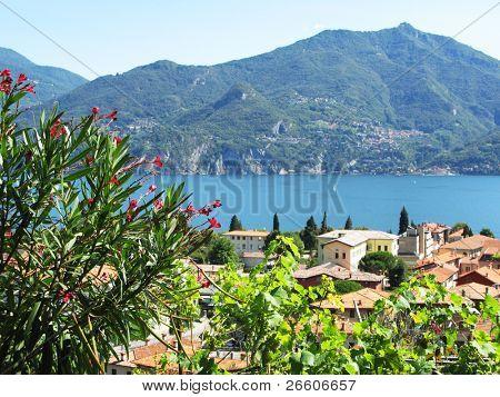 Menaggio town against famous Italian lake Como