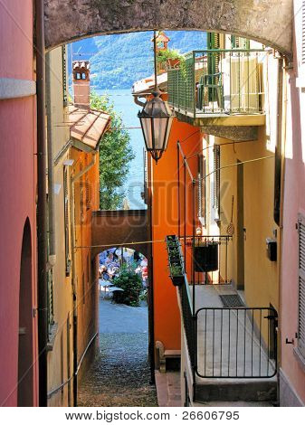 Narrow street of Varenna town at the lake Como, Italy