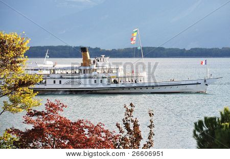 Cruiser ship with tourists on board. Geneva lake, Switzerland