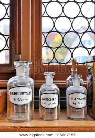 Empty scent bottles in old pharmacy