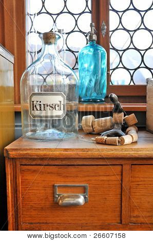 Empty bottles in old pharmacy
