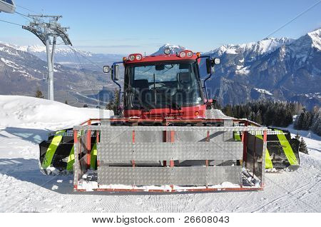 Snowplow in Pizol, famous Swiss skiing resort