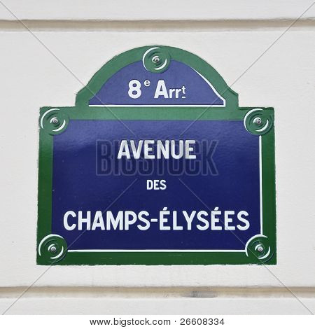 Avenue des Champs-Elysees street sign in Paris