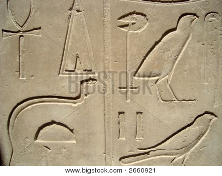 Egyptian Hieroglyphs In Luxor