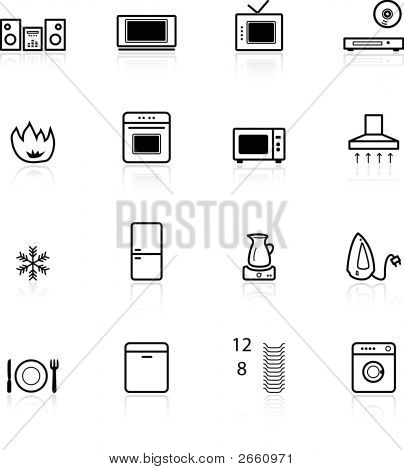 Black Household Appliances Icons