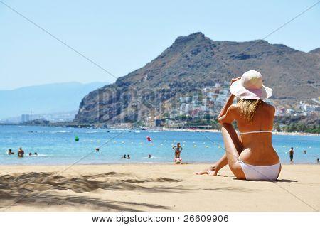 Escena de la playa. Playa de la Teresitas. Tenerife, Islas Canarias