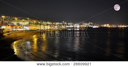 Torviscas Playa at night. Tenerife, Canaries