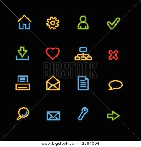 Iconos Web básico de neón