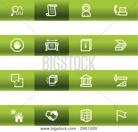 Green Bar Building Icons