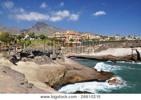 Rocky coast of Costa Adeje.Tenerife island, Canaries