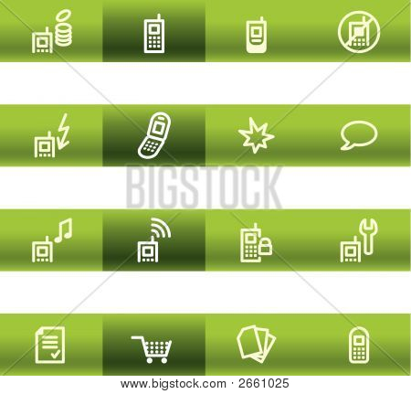 Green Bar Mobile Phone Icons