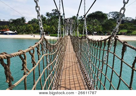 Hanging bridge at Sentosa island in Singapore