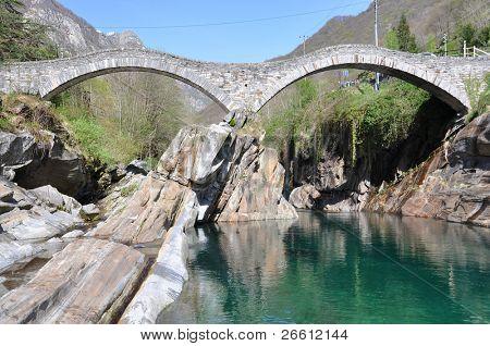 Ponte dei salti bridge in Lavertezzo, Switzerland