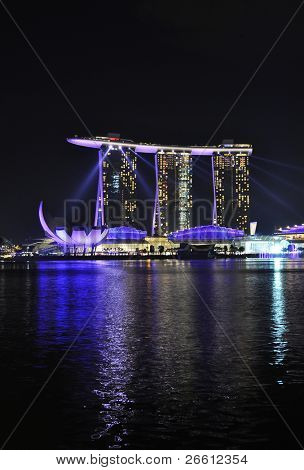 SINGAPORE - FEBRUARY 26: Marina Bay Sands hotel on Feb 26, 2011 in Singapore. Wonder Full show is the largest light and water spectacle in Southeast Asia