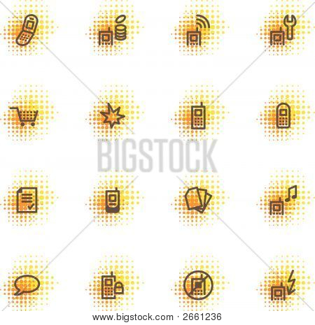Mobile Phone Icons, Dots Series