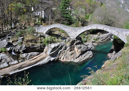 Ponte dei salti bridge in Lavertezzo, Switzerland