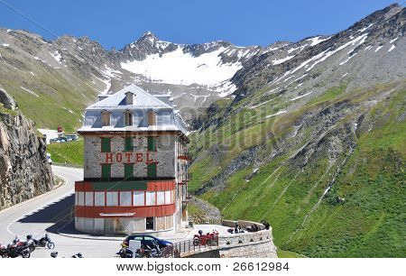 An old hotel on the Furka pass, Switerland