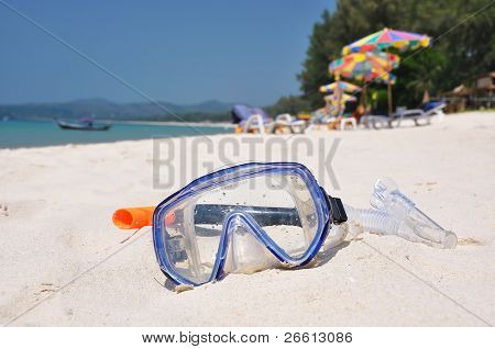 Snorkeling set on Bangtao beach of Phuket island