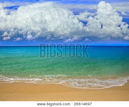 Sea, sand and clouds