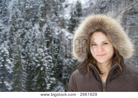 Attractive Woman In The Mountains
