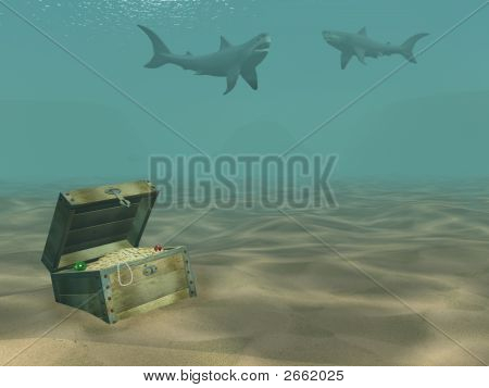 3D Sharks Floating Above A Box With Treasures
