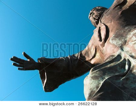 statue of the Jesus Christ the Redeemer that prays on the mountain
