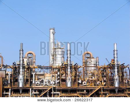 Towers of a refinery of chemistry industry