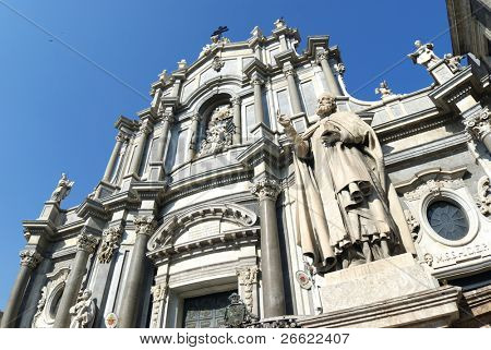Catania the baroque cathedral of Santa Agata in square of the Duomo