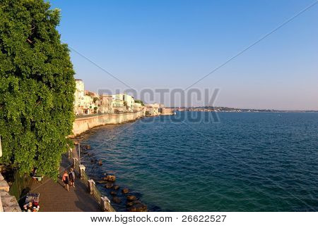L'island of Ortigia Siracusa panorama of sea from the the promenade