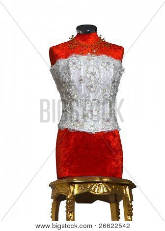 Mannequin dressmaker fashion female vintage isolated on white