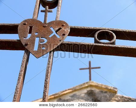 """Maletto iron crosses rusty of the monk passionisti and their christian symbol with acronym """"inri"""" """"jxp"""""""